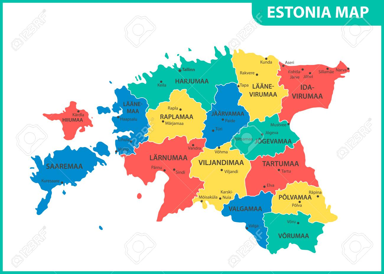 Picture of: The Detailed Map Of Estonia With Regions Or States And Cities Royalty Free Cliparts Vectors And Stock Illustration Image 102225056