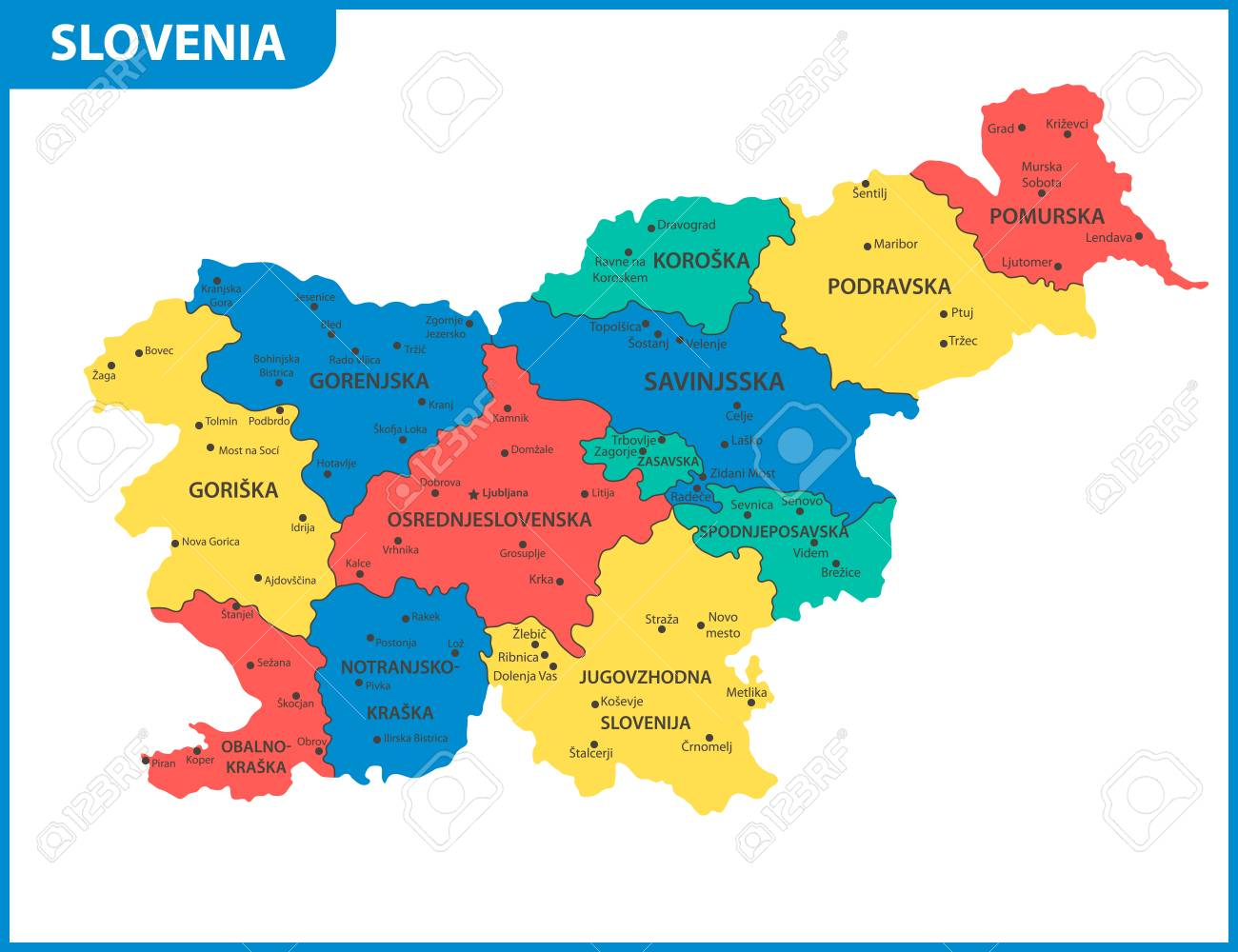 States Map With Cities.The Detailed Map Of Slovenia With Regions Or States And Cities