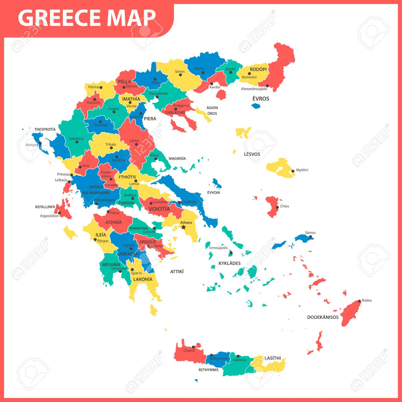 The Detailed Map Of Greece With Regions Or States And Cities ... on
