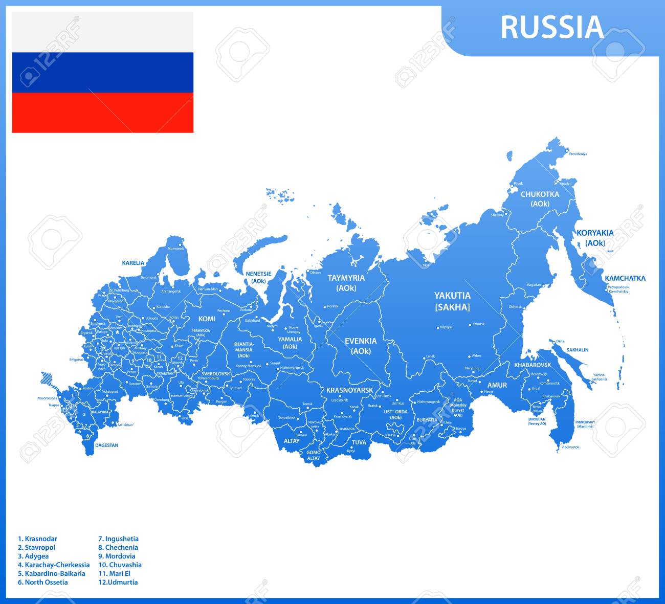 The detailed map of the Russia with regions or states and cities,..