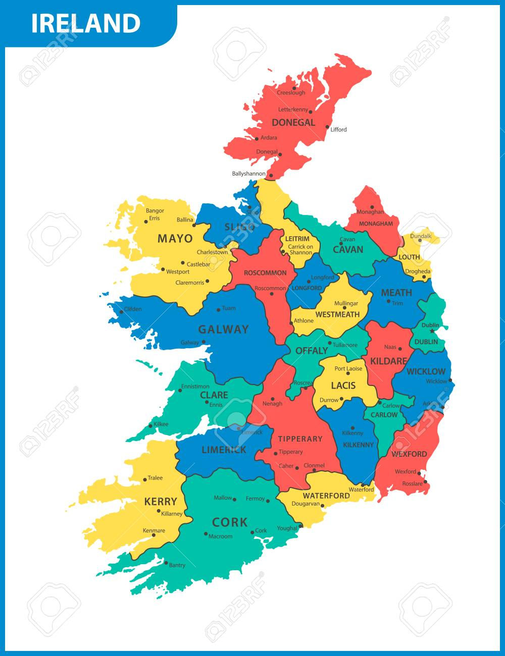 Cities In Ireland Map.The Detailed Map Of The Ireland With Regions Or States And Cities