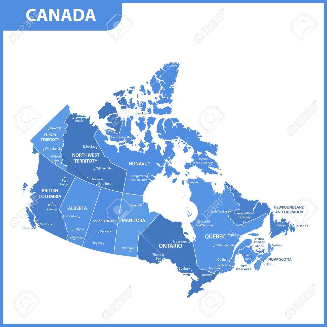 The detailed map of the Canada with regions or states and cities,..