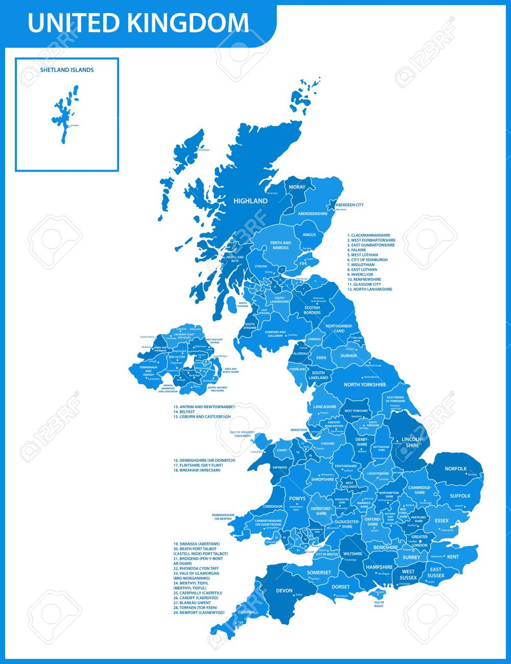 Map Of Uk With Regions.The Detailed Map Of The United Kingdom With Regions Or States