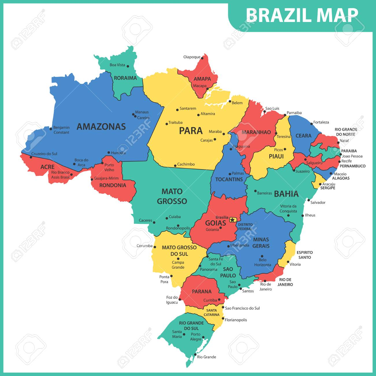 Brazil States Map The Detailed Map Of The Brazil With Regions Or States And Cities