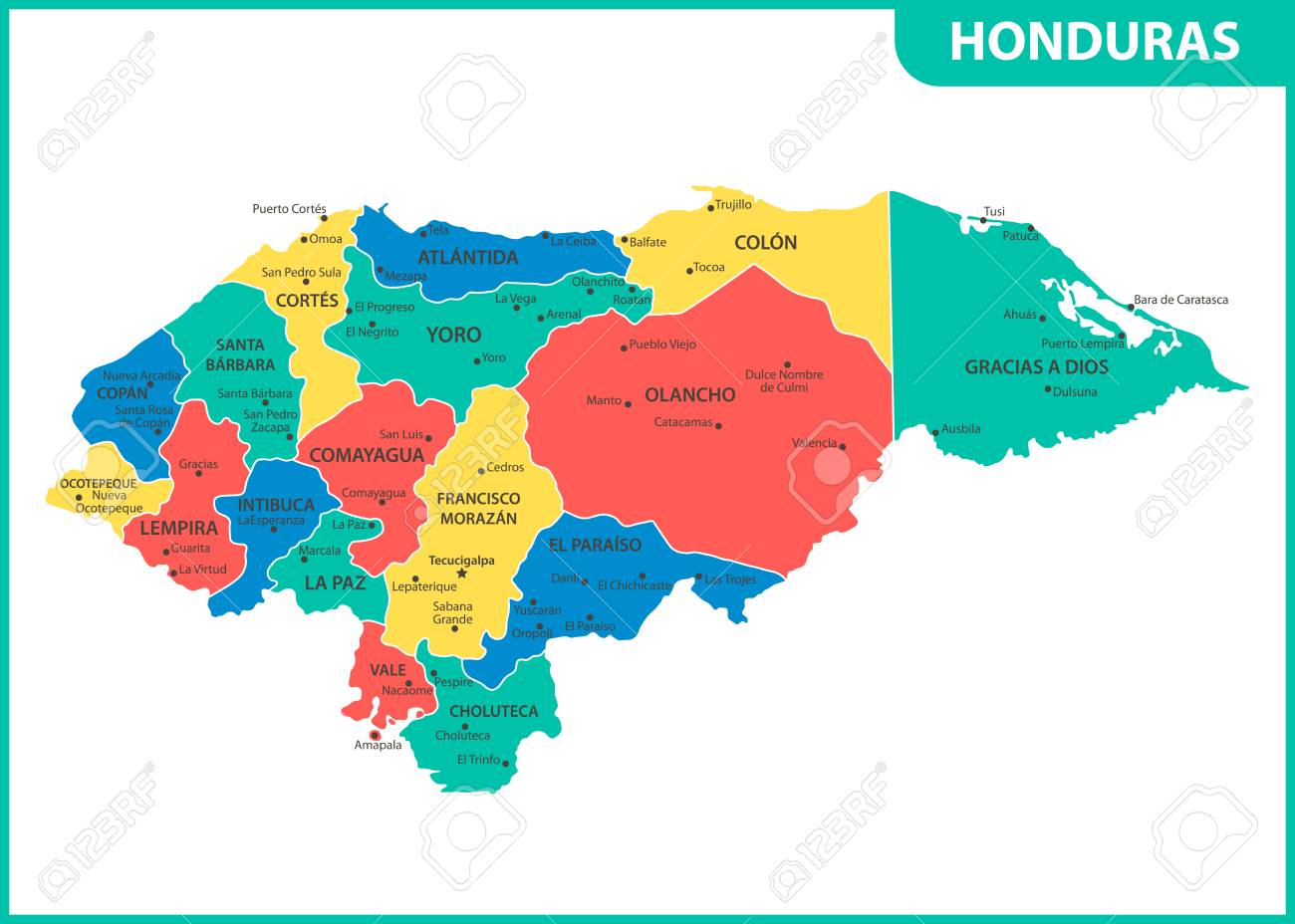 The detailed map of Honduras with regions or states and cities,.. on map of san bernardino county cities, map of oceania cities, map of eastern united states cities, map of s korea cities, map of kosovo cities, map of luxembourg cities, map of rio grande cities, map of palau cities, map of guyana cities, map of ohio showing cities, map of the dominican republic cities, map of western tennessee cities, map of laos cities, map of niger cities, map of mississippi river cities, map of democratic republic of congo cities, map equatorial guinea cities, map of guam cities, map of gulf of california cities, map of burundi cities,