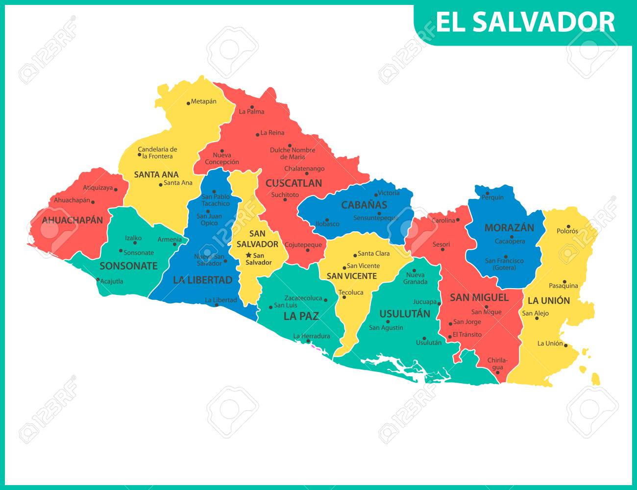 Cities Map El Salvador on