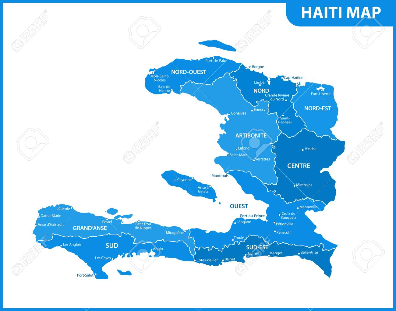 The Detailed Map Of Haiti With Regions Or States And Cities, Capital ...