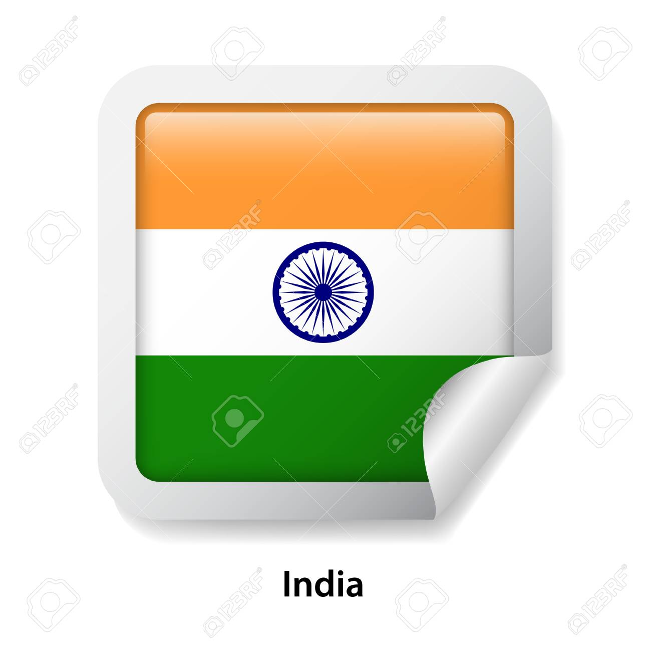 Flag of india round glossy sticker stock vector 114282765