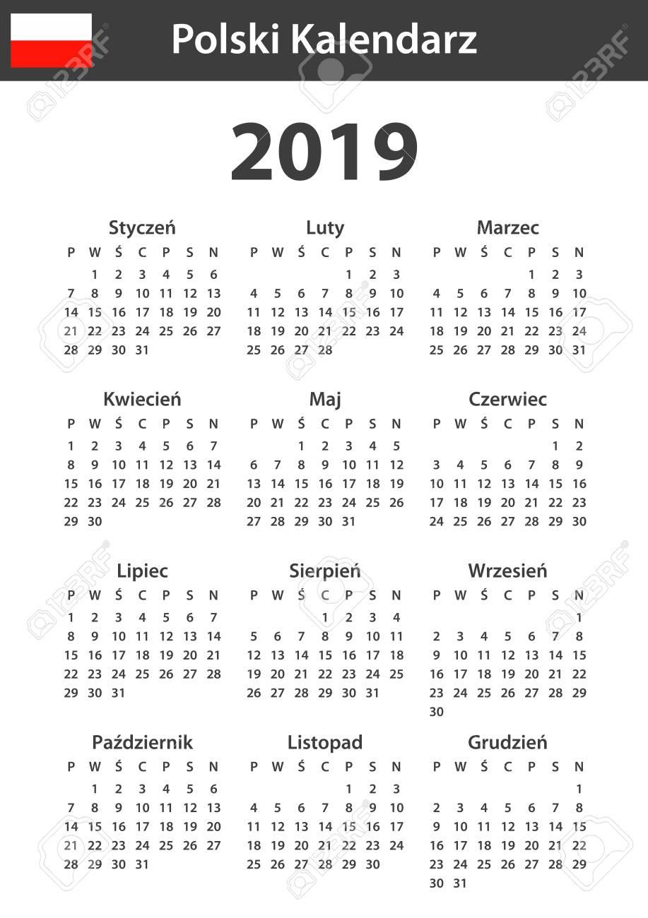 Polish Calendar for 2019  Scheduler, agenda or diary template