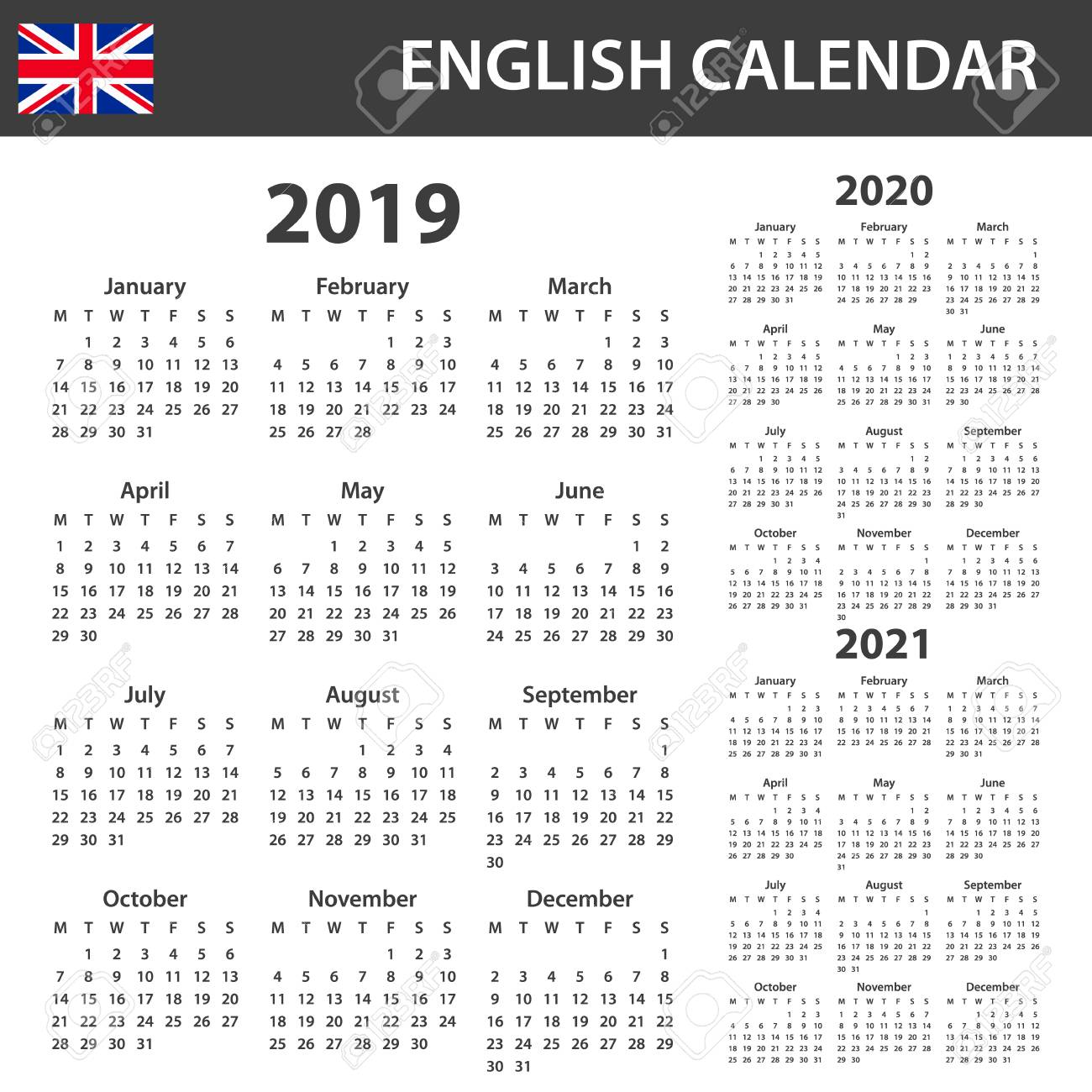 Calendar With Week Numbers 2020.English Calendar For 2019 2020 And 2021 Scheduler Agenda Or
