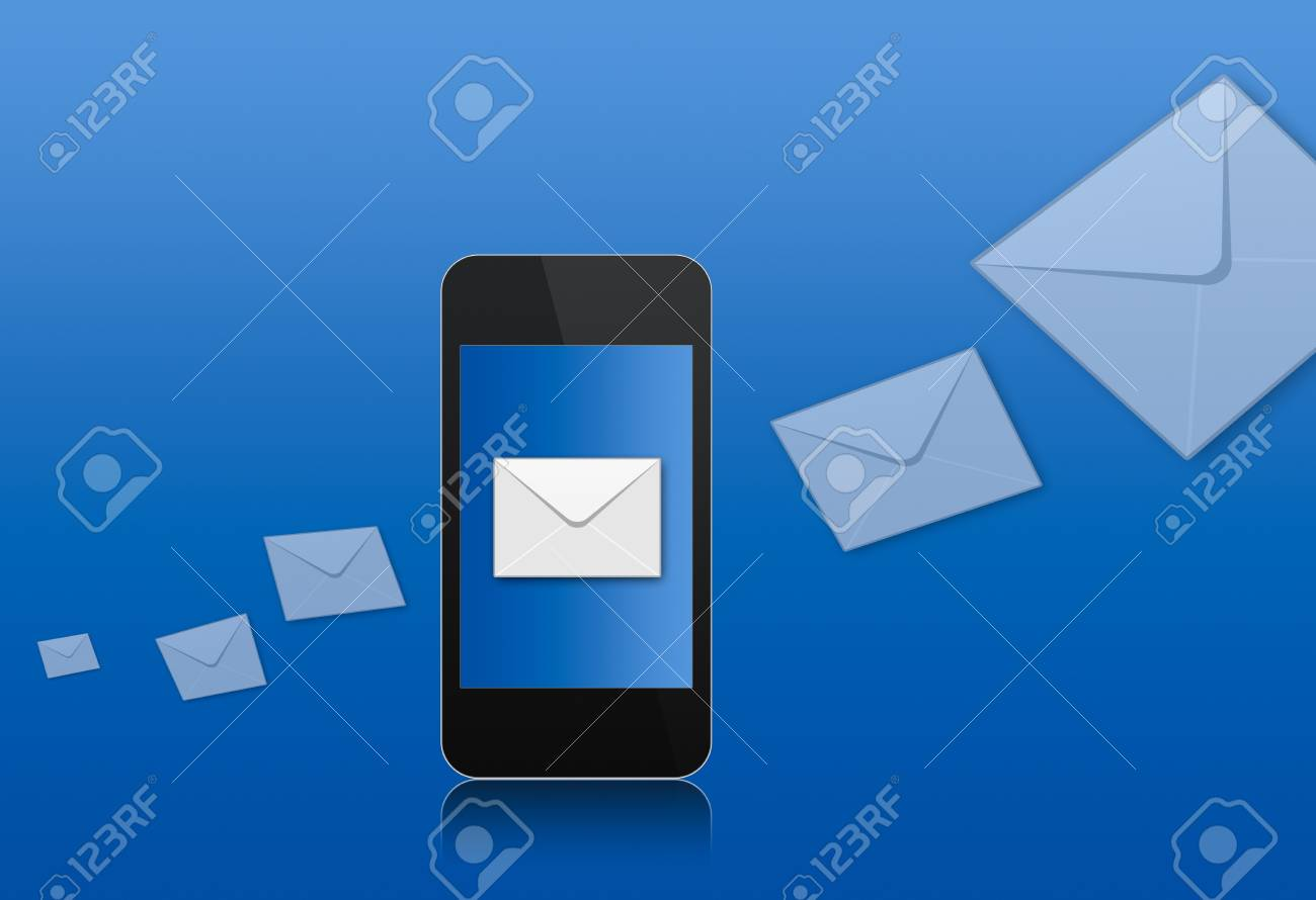 modern abstract touchscreen phone with letter on screen over the blue background Stock Photo - 7999755