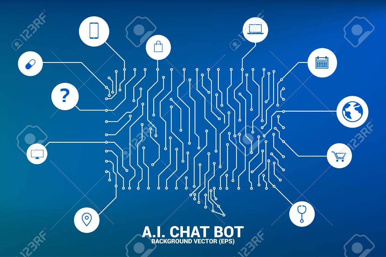 Artificial intelligence Chat bot service with dot connected line style background with circuit board graphic style. speech bubble with various icon. - 126713799