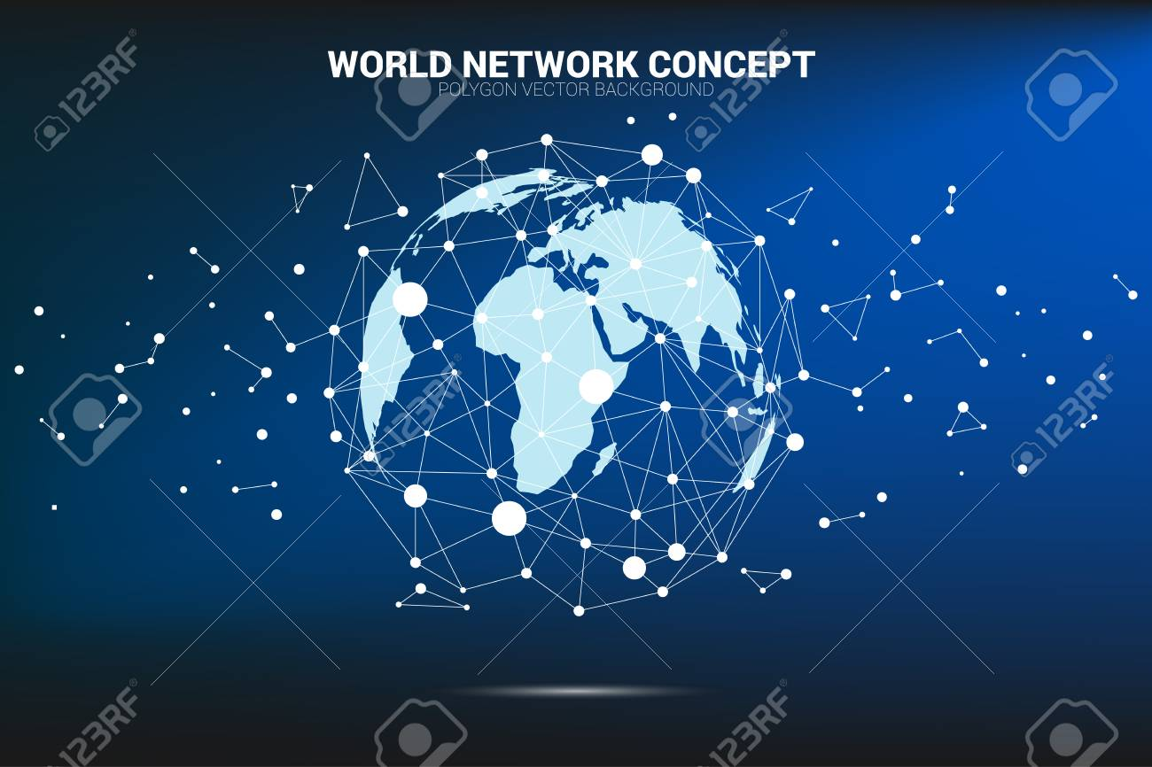 Globe 3d World Map Wireframe Dot Connect Line Polygon Concept