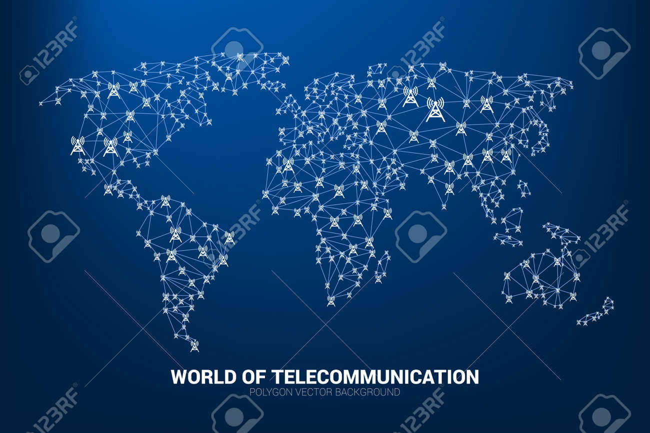 Vector Polygon antenna tower icon connect line to world map shape. Concept for international telecom service and network. - 124354790
