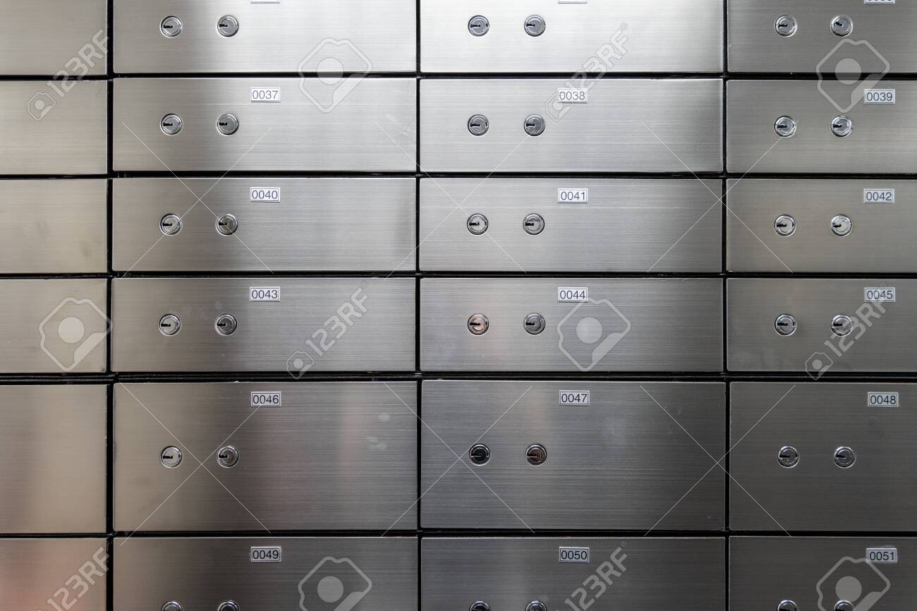 Metal safe box panel wall. Concept for sucurity and banking protection. - 136228496