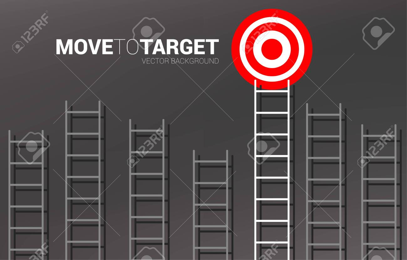 Group of ladder with the one to target. Business concept for competition and goal achievement. - 137041654