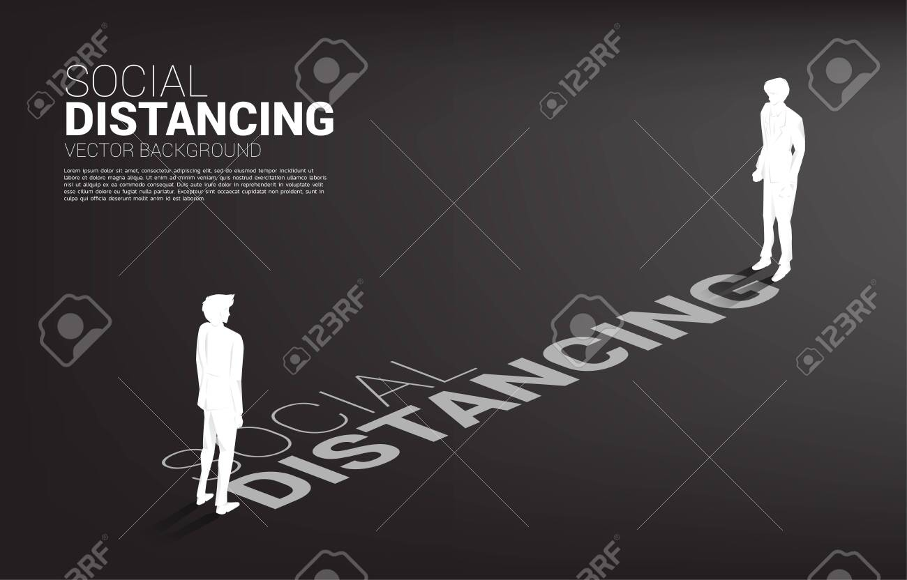 Silhouette of businessman standing with distance for avoid virus. Concept of social distancing and isolation. - 143218143