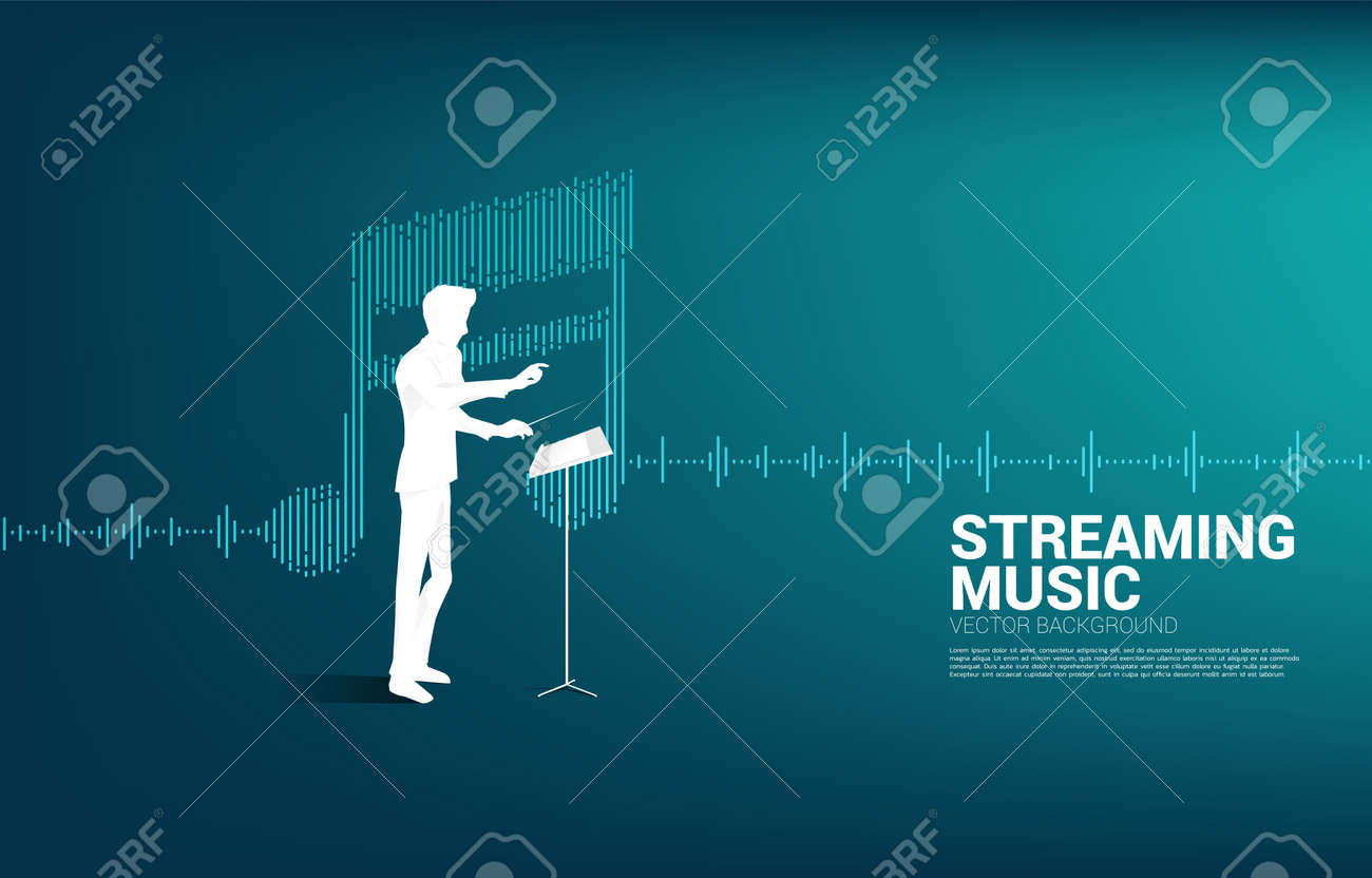Music conductor with equalizer wave as music note. Concept background for orchestra concert and recreation. - 157230505