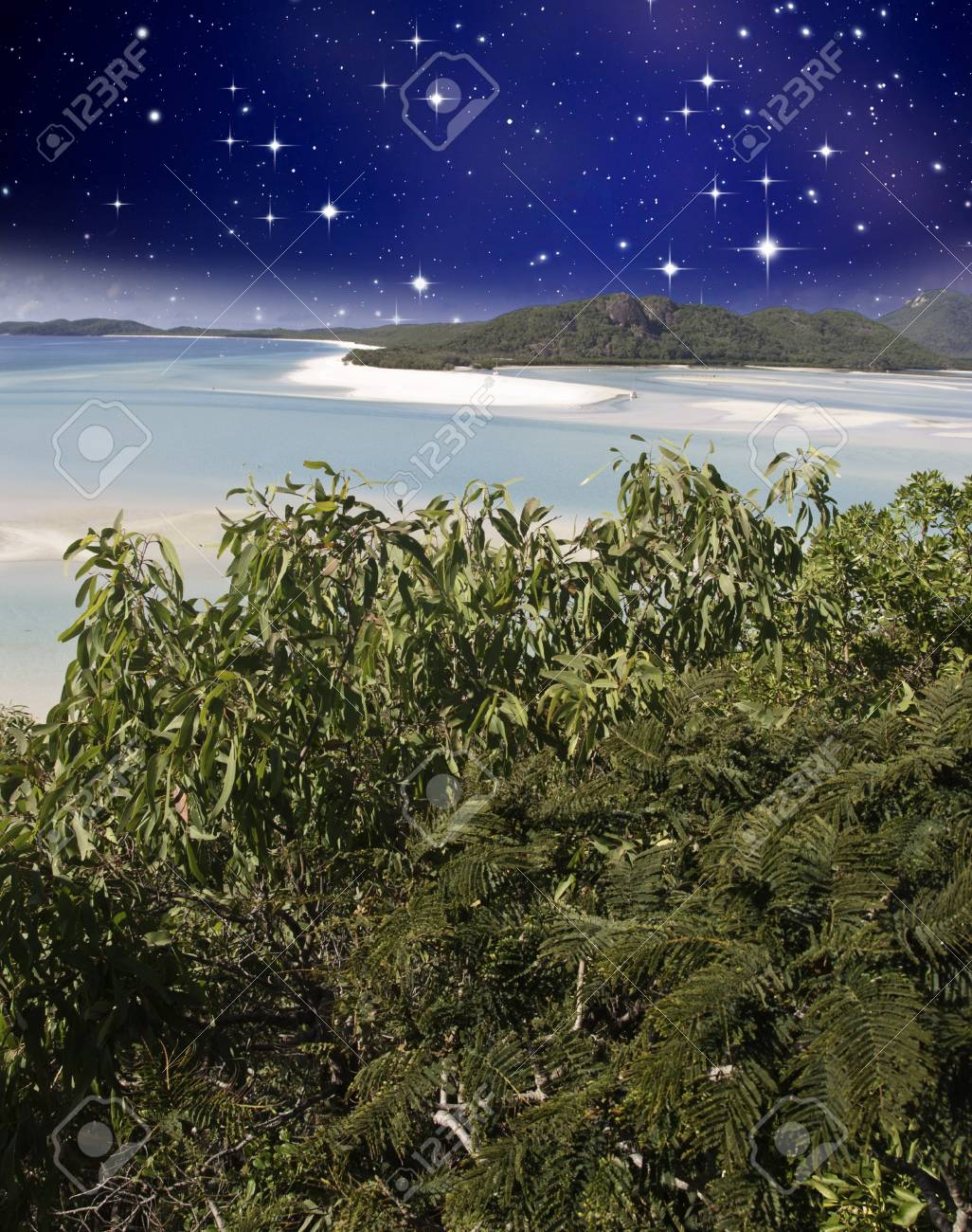 Starry Night in the Whitsunday Archipelago, Queensland, Australia Stock Photo - 12171779