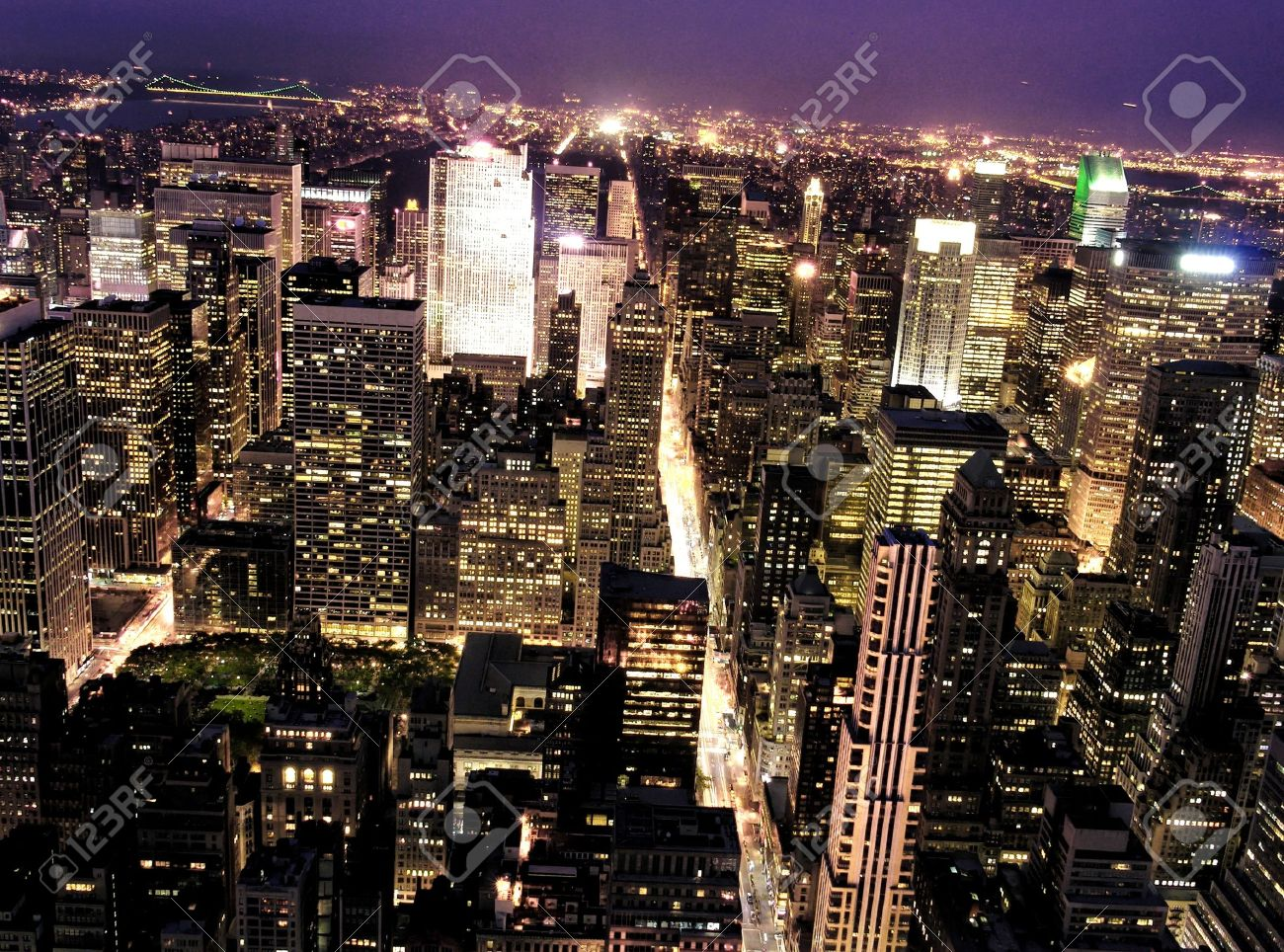 Night View of New York City from Empire State Building Stock Photo - 16394413