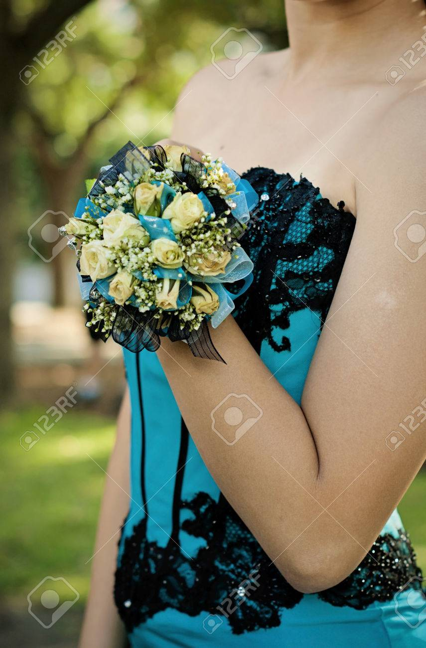 Pretty Turquoise And Black Wrist Corsage Worn To The Prom Stock