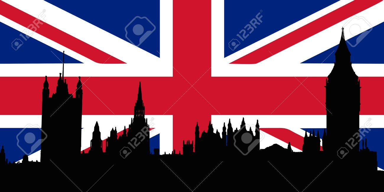 Union Jack with Houses of the Parliament silhouette on Stock Vector - 7606917