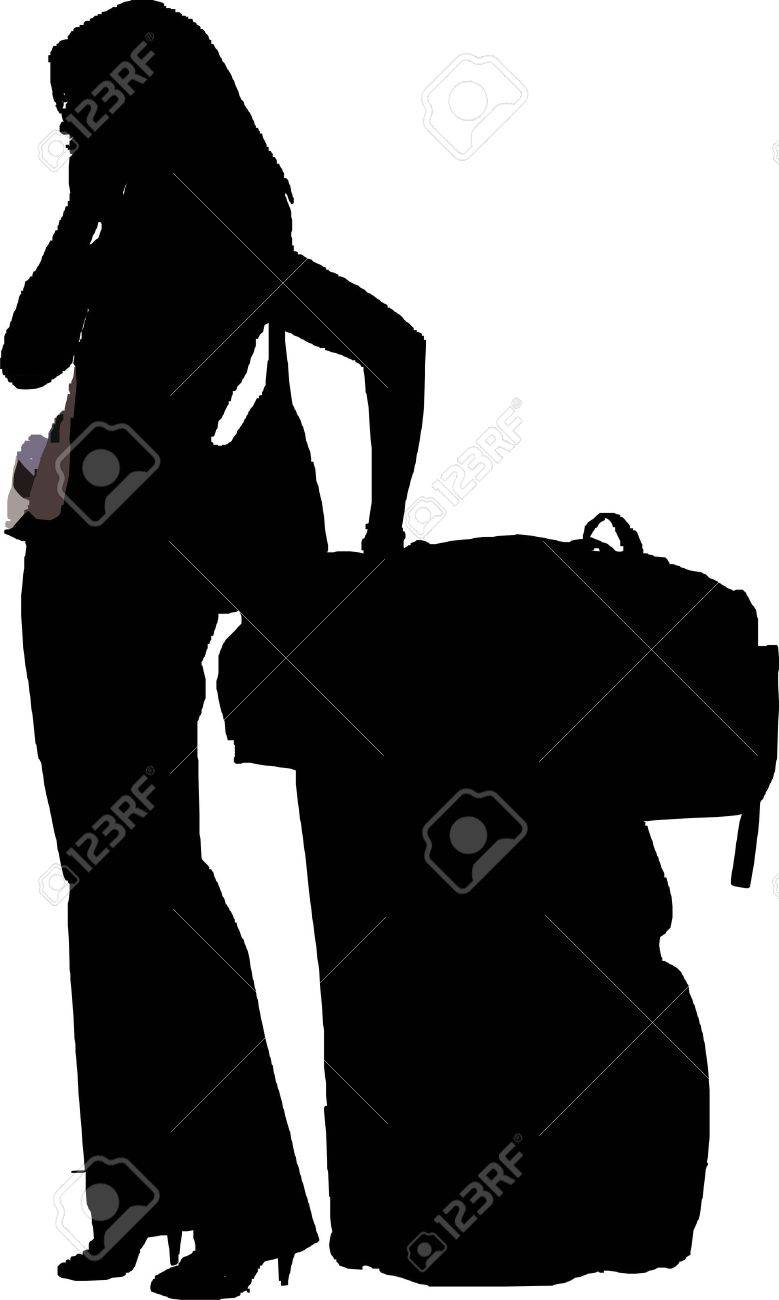 silhouette of a stylish girl with luggage talk on her mobile phone - isolated vector illustration Stock Vector - 7793846