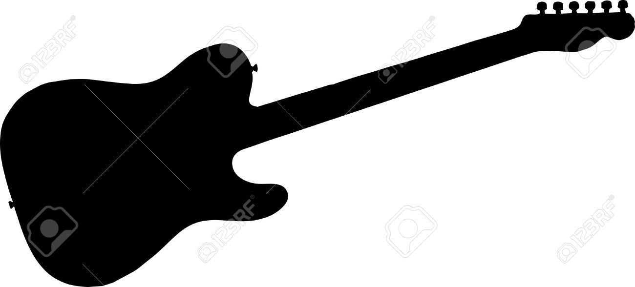 electric guitar silhouette isolated vector illustration royalty