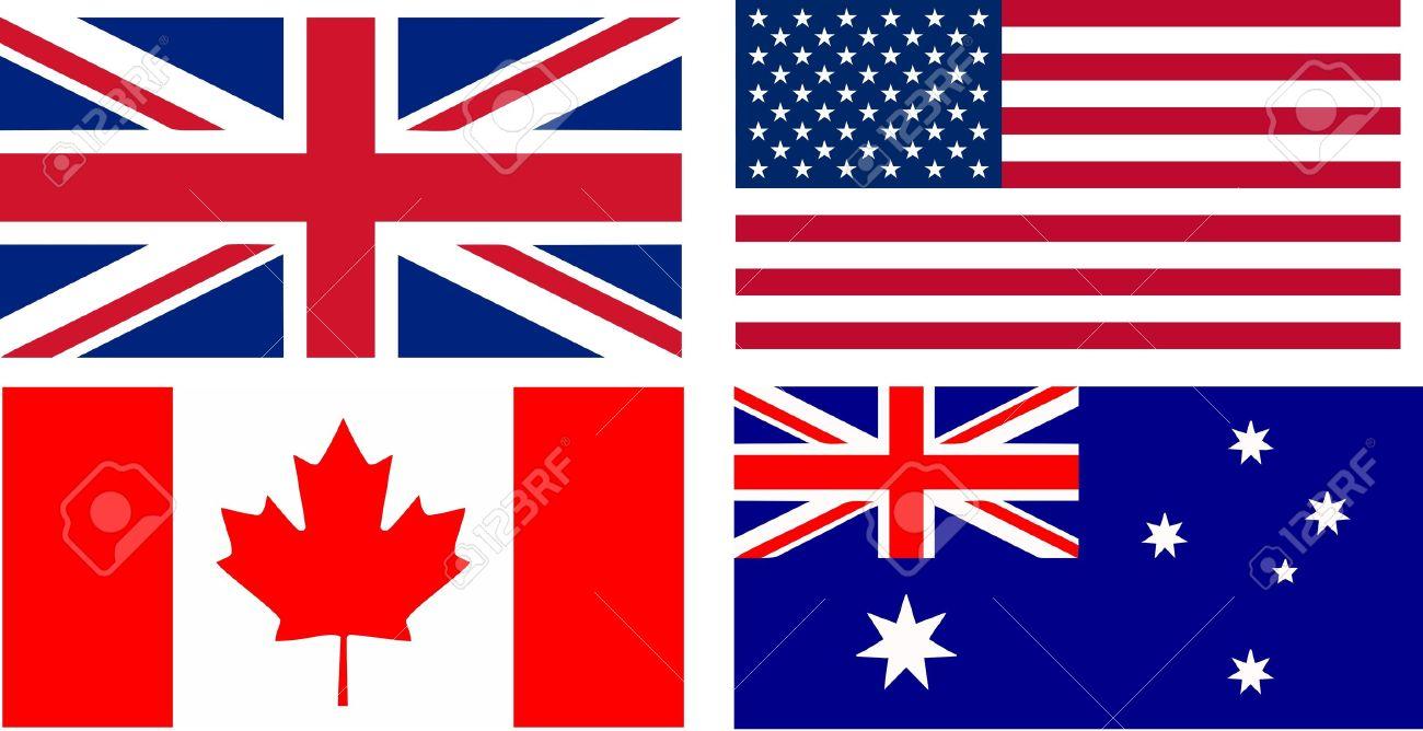 banderas de los principales países de habla inglesa ilustración