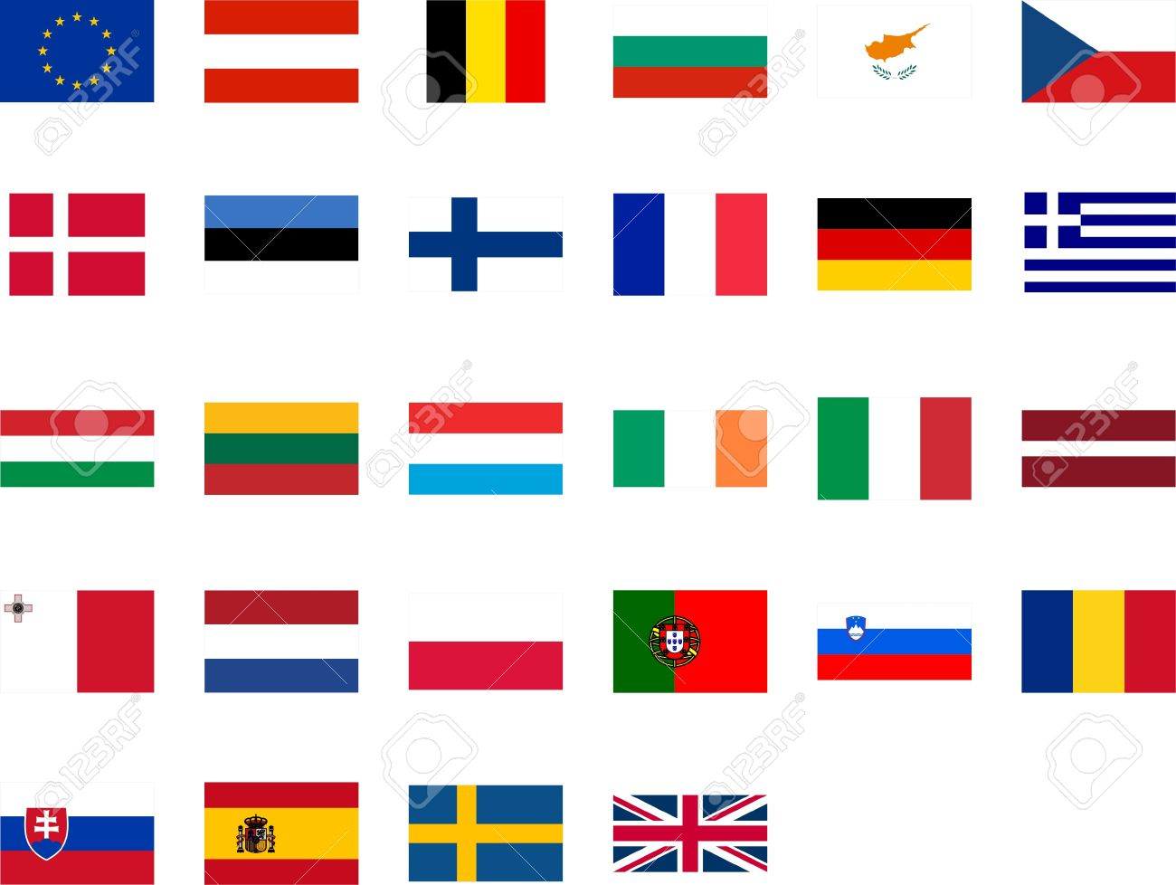 Flags Of The European Union Member Countries Royalty Free Cliparts