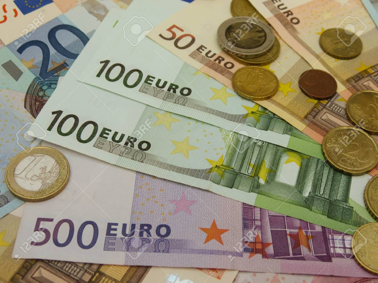 Euro (EUR) banknotes and coins money useful as a background or money concept Stock Photo - 18339590