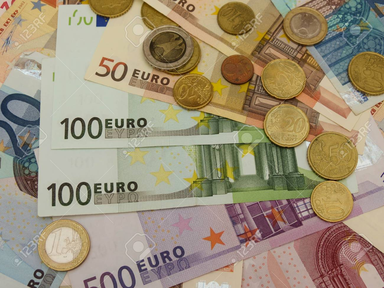 Euro (EUR) banknotes and coins money useful as a background or money concept Stock Photo - 18339608