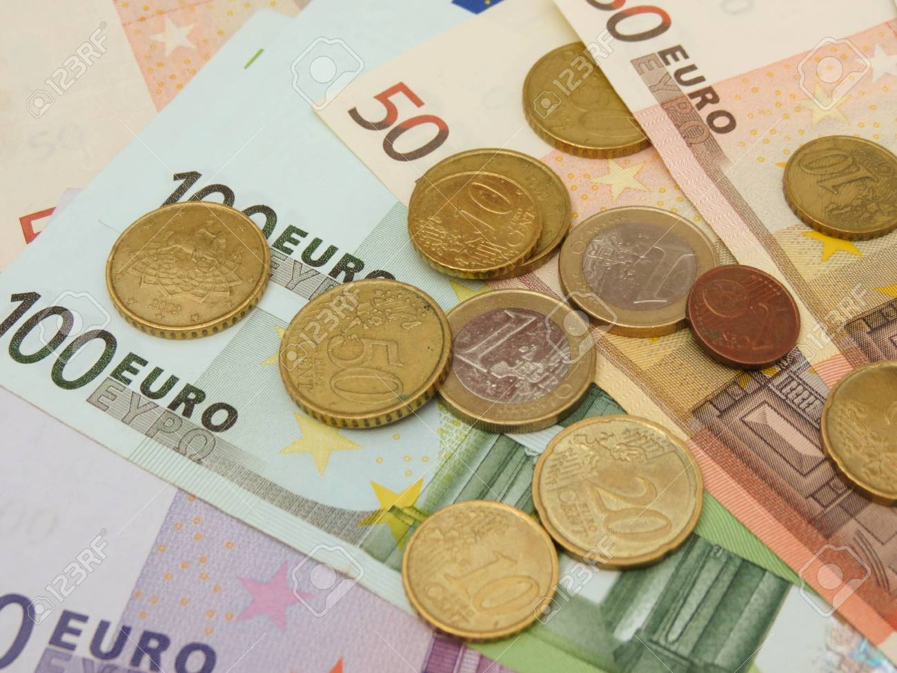 Euro (EUR) banknotes and coins money useful as a background or money concept Stock Photo - 18356212