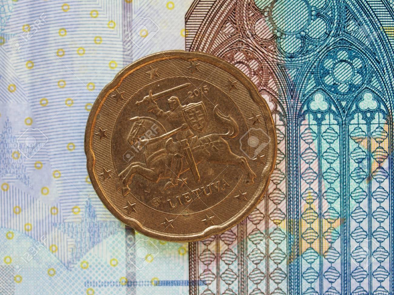 20 Euro Cent Münze Währung Der Europäischen Union Aus Litauen über