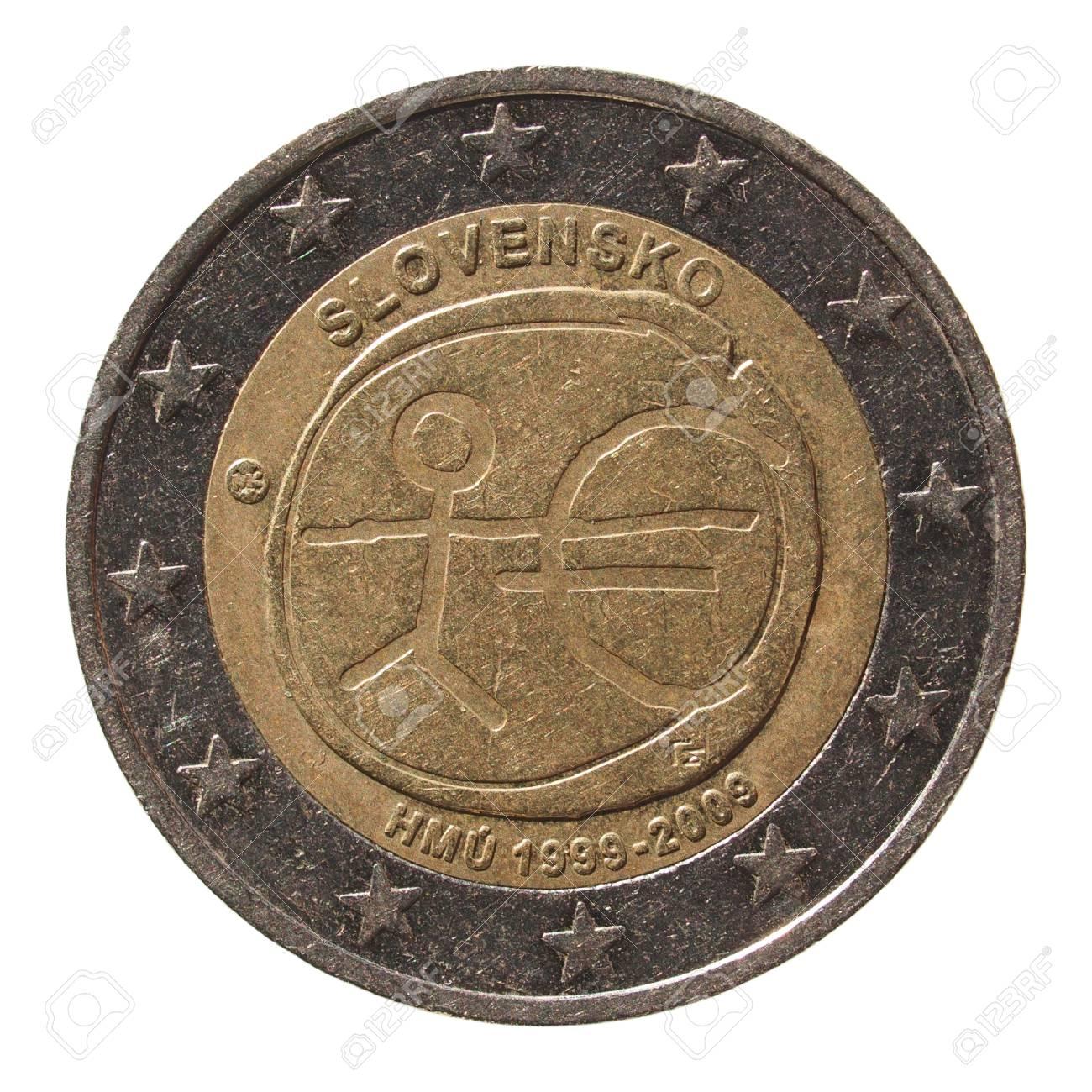 Gedenk 2 Euro Münze Slowakei 2009 10 Jahrestag Der Euro Währung