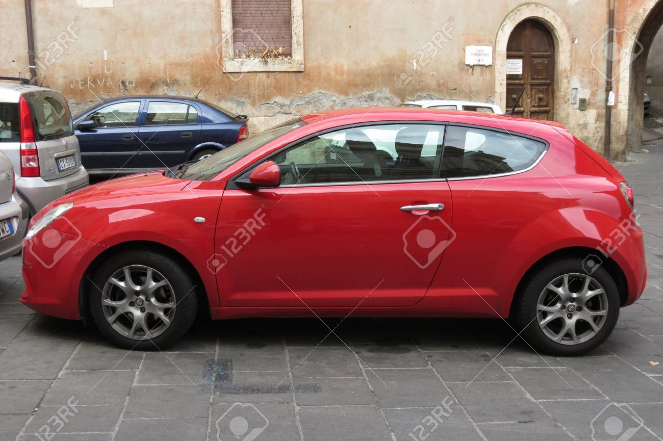 Rome Italy Circa October 2015 Red Alfa Romeo Mito Car In Stock Photo Picture And Royalty Free Image Image 55989746