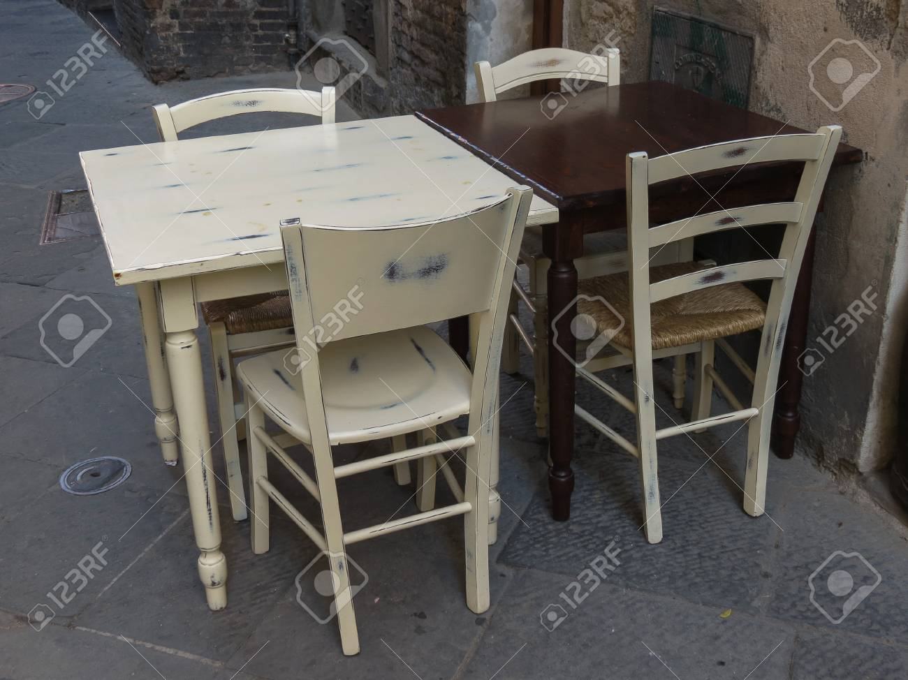 Stock photo tables and chairs of a dehors alfresco bar restaurant pub