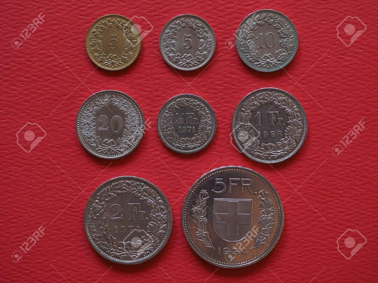 Schweizer Franken Münzen Geld Chf Währung Der Schweiz