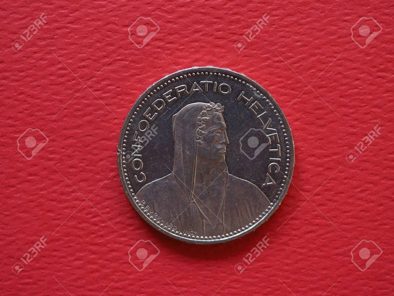 5 Franken Münze Geld Chf Währung Der Schweiz Lizenzfreie Fotos