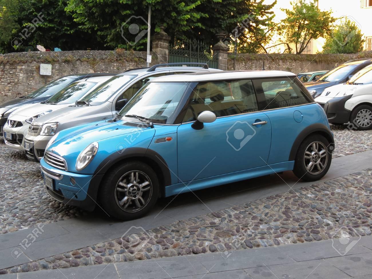 Bergamo Italy Circa July 2017 Blue Mini Cooper Car Parked