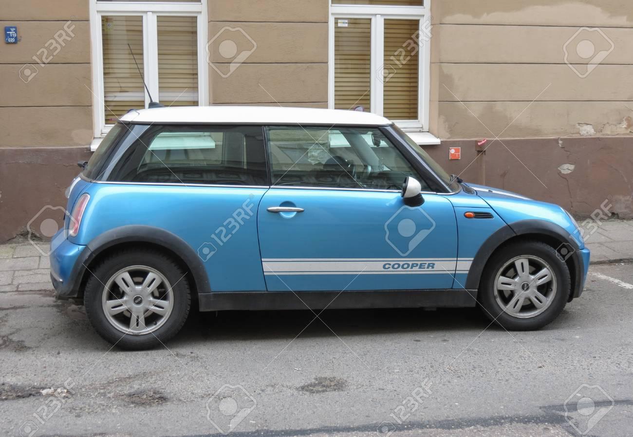 Vilnius Lithuania Circa April 2017 Blue Mini Cooper Car Parked