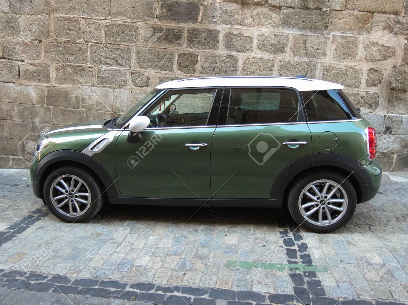 Toledo Spain Circa October 2017 Olive Green Mini Cooper Car