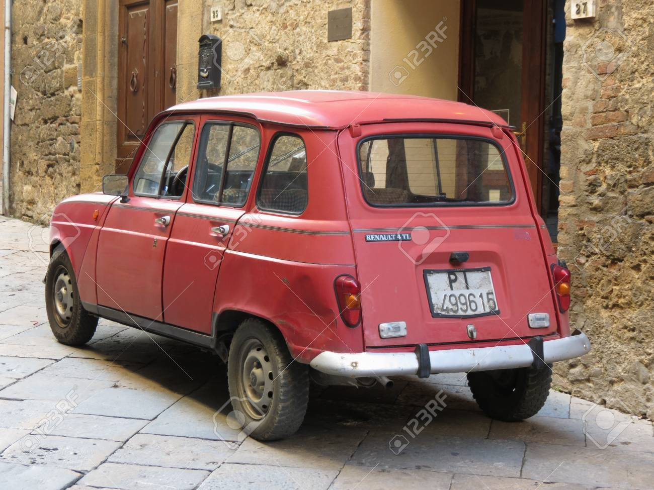 Volterra Italy Circa December 2014 A Red Renault 4 Parked Stock Photo Picture And Royalty Free Image Image 116750195