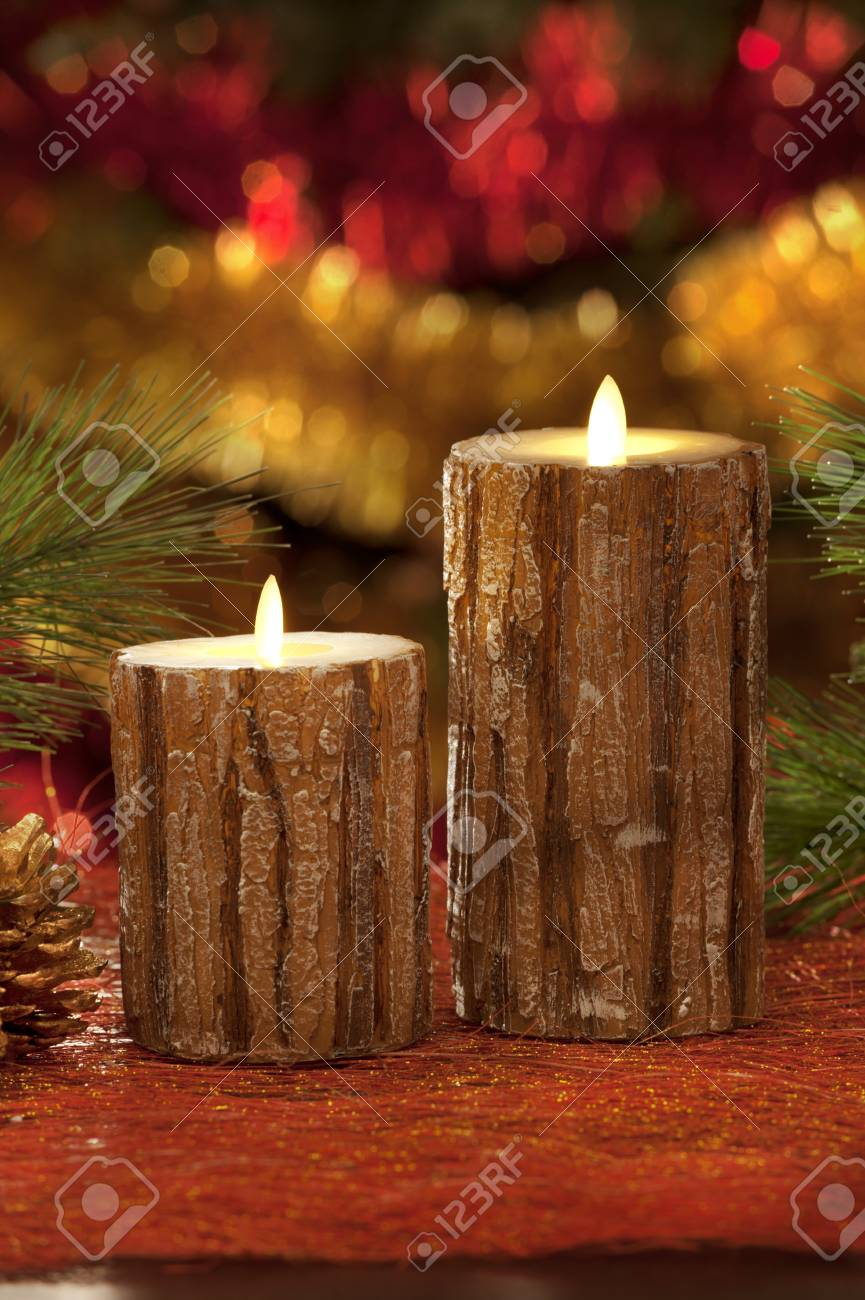 Electric Christmas Candles.Electric Christmas Candles In Atmospheric Light