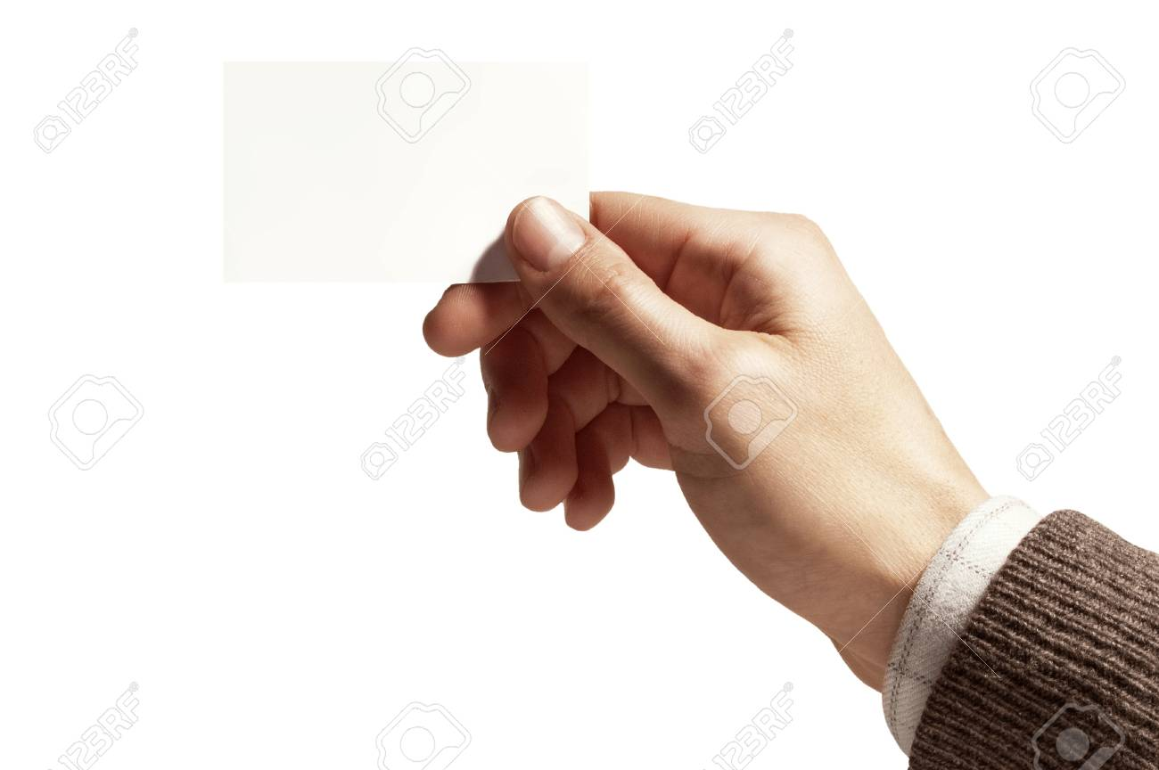 hand of a man with white card on white background - 15486914