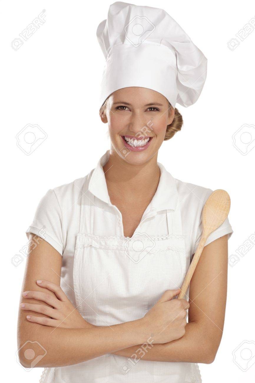 young woman chef with different tools on white - 15937000