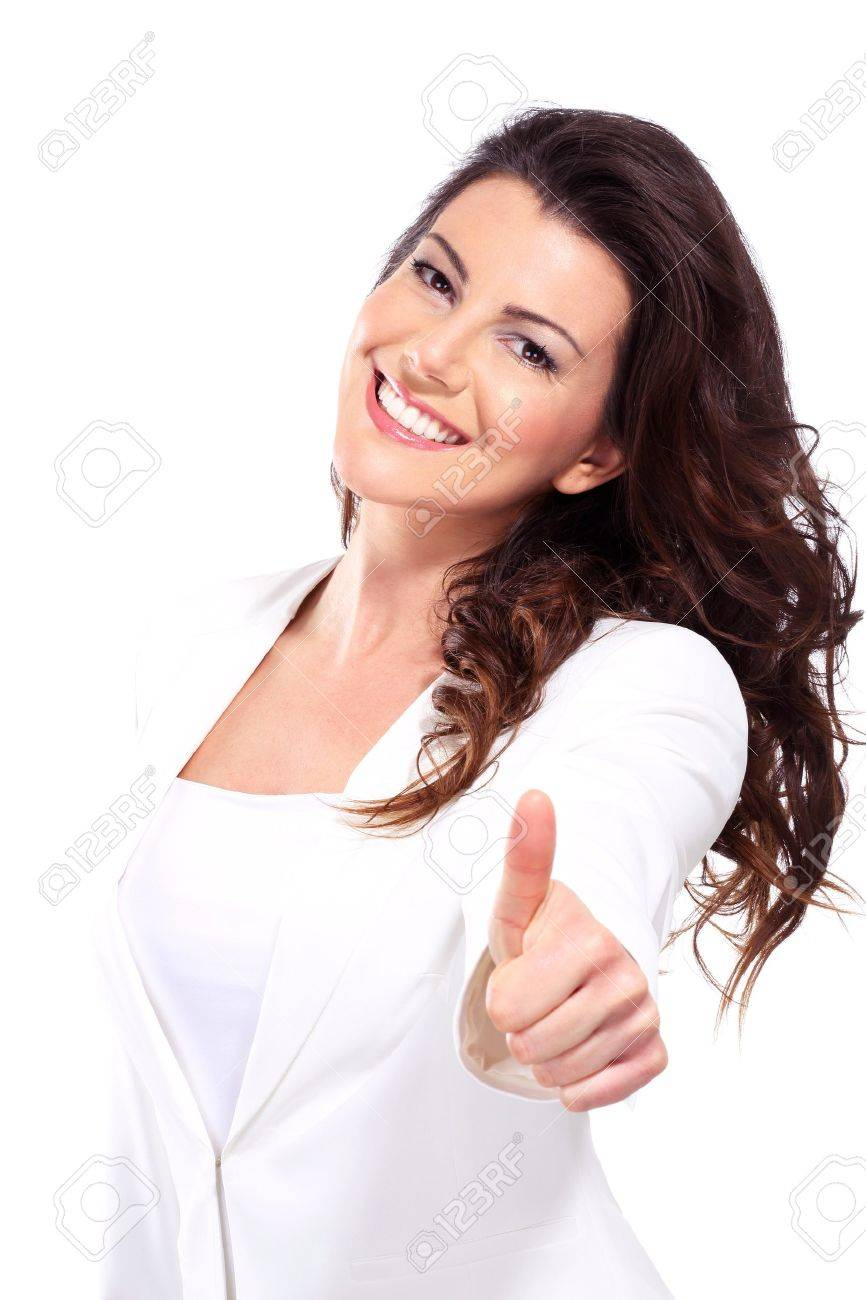 woman with thumbs up on white - 17643926