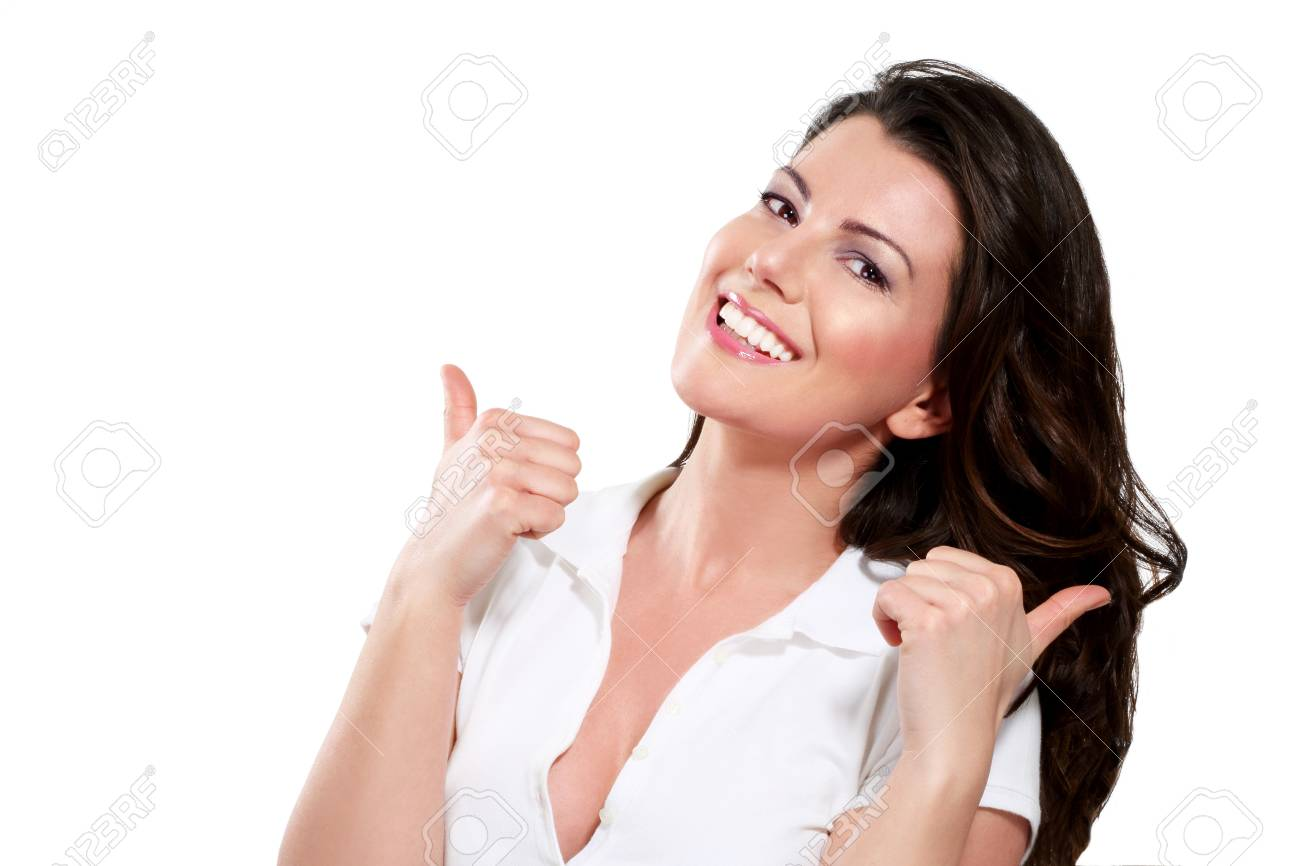 woman with thumbs up on white - 17643956
