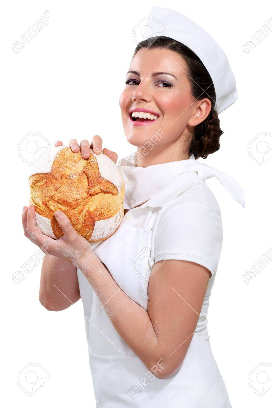young beautyful woman baker on white - 17643994