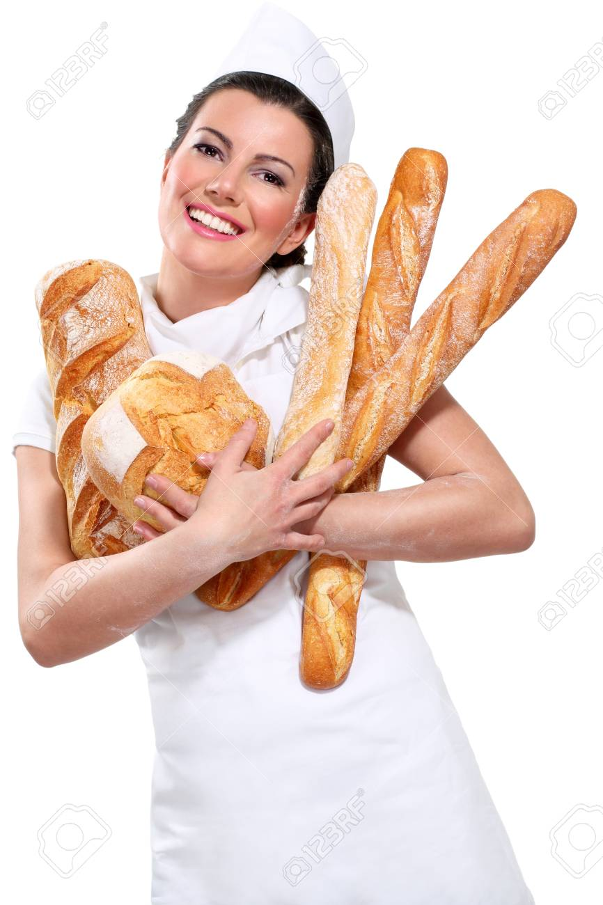 young beautyful woman baker on white - 17644017